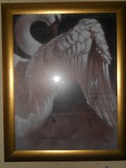 продам картину Лебедь 72*92  под стеклом,  рамка металл - позолота
