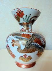 Старинная японская фарфоровая ваза Кутани 19 вв.