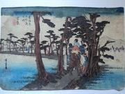 Старинная японская гравюра Хиросиге 1831-1834-е г.