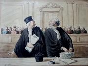 Старинная французская акварель Оноре Домье;  19в.